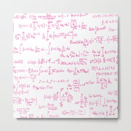 Pink Math Equations Metal Print