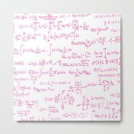 Pink Math Equations Metal Print