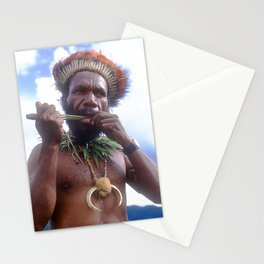 Papua New Guinea Villager Playing Handmade Flute Stationery Cards