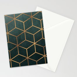 Dark Teal and Gold - Geometric Textured Gradient Cube Design Stationery Cards
