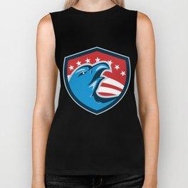 Bald Eagle Head American Stars and Stripes Shield Retro Biker Tank