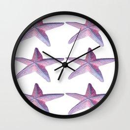 Pink Sea Stars in Six by Aloha Kea Photography Wall Clock