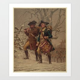 Vintage Continental Army Soldiers Painting (1875) Art Print