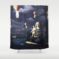 madonna Shower Curtains featuring Madonna with Child (on the high sea)  by Luca Grs