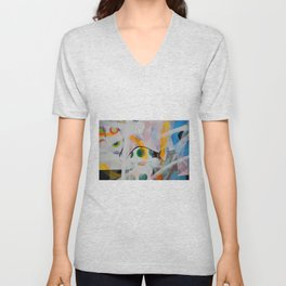 Some flags, circles & paint. Magic layers Unisex V-Neck