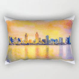 sunset skyline of San Diego downtown, California Rectangular Pillow