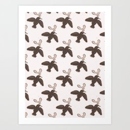 Folk Art Bird Mistletoe Lino Cut Art Print