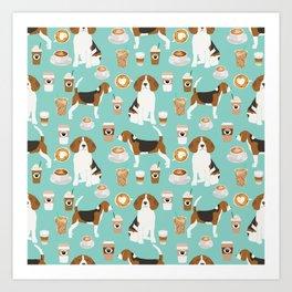 Beagle coffee print cute dog beagles coffees lattes Art Print