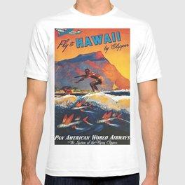 Hawaii Surfing, Diamondhead, World Airways Vintage Travel Poster T-shirt