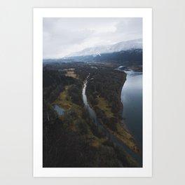 Snow-capped Columbia River Gorge Art Print