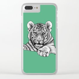 Amur tiger cub - green Clear iPhone Case
