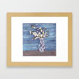 Blue Flowers in Vase Framed Art Print