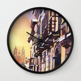 Watercolor painting of Basilica at sunset in city of Quito, Ecuador.  Watercolor Quito skyline Wall Clock
