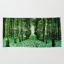 Magical Forest Green Elegance Beach Towel