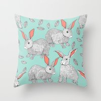 rabbits Throw Pillows featuring Rabbits by Wee Jock