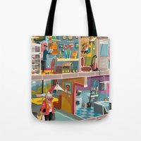 budapest Tote Bags featuring Greetings from Budapest by Zsolt Vidak