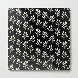 Modern ivory black hand painted watercolor floral pattern Metal Print