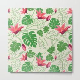 Tropical Pattern in Pink and Green Metal Print