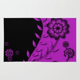 Dazzling Violet Floral Abstract Rug