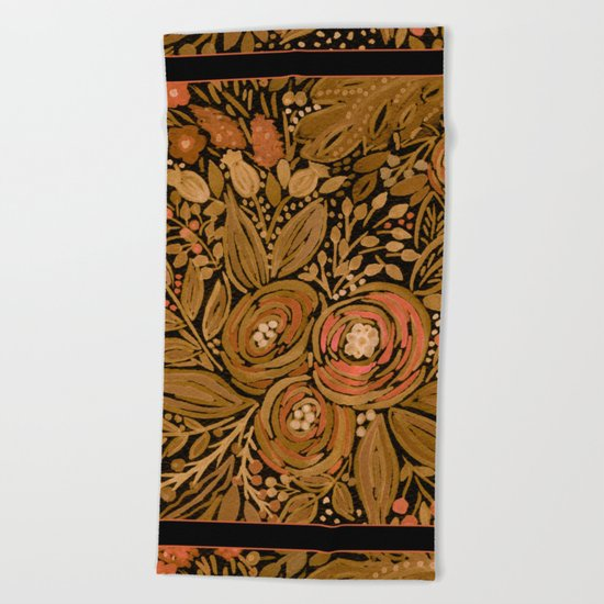 Watercolor .   Black brown floral pattern . Beach Towel