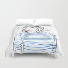 Stripes & Red Lips Duvet Cover