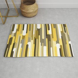 Flowing drops of paint in gold yellow, abstract liquid flow, golden background Rug