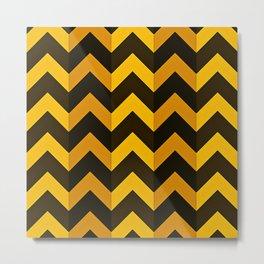 Shades of Gold with Black Chevron Stripes Metal Print
