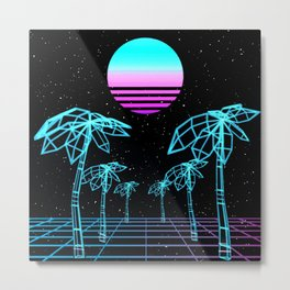 Vapor Wave Palm Trees Metal Print