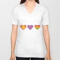 hearts V-neck T-shirts featuring hearts by Li-Bro