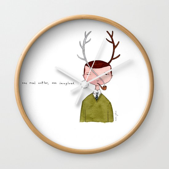 One real antler, one imagined Wall Clock