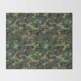 Green and Brown Camouflage Pattern Throw Blanket