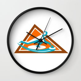 Curling Player Sliding Stone Triangle Icon Wall Clock