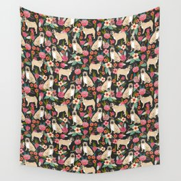 Pugs of spring floral pug dog cute pattern print florals flower garden nature dog park dog person  Wall Tapestry