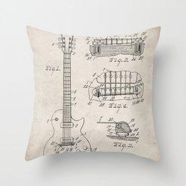 Gibson Guitar Patent - Les Paul Guitar Art - Antique Throw Pillow