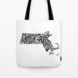 Typographic Massachusetts Tote Bag