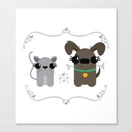 como perro y gato Canvas Print