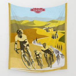 Strade Bianche retro cycling classic art Wall Tapestry