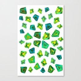 Green beautiful hand drawn gems. Canvas Print