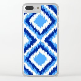 IKAT pattern, indigo blue and white, 08 Clear iPhone Case