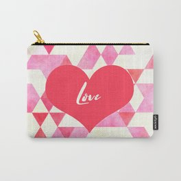 Valentine's Diamond Pattern with Love Heart Carry-All Pouch