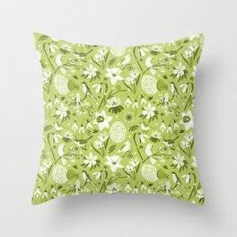 Finally Easter! [mono green] Throw Pillow