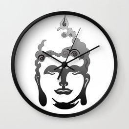 Buddha Head grey black white background Wall Clock