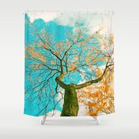 hero Shower Curtains featuring Autumn hero by Die Farbenfluesterin