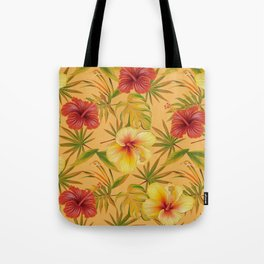 Leave And Flowers Pattern Tote Bag