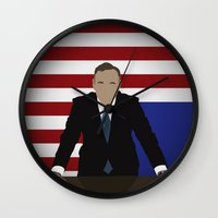 house of cards Wall Clocks featuring House Of Cards - Frank Underwood by Tom Storrer