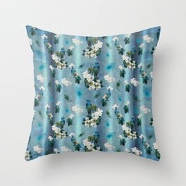 Peacocks & Feathers on a Running Pattern Throw Pillow
