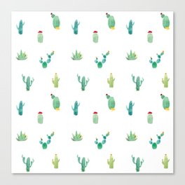 Summer pattern with cacti and yellow cats ! Canvas Print