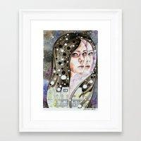 nightmare Framed Art Prints featuring Nightmare by Veronika Weroni Vajdová