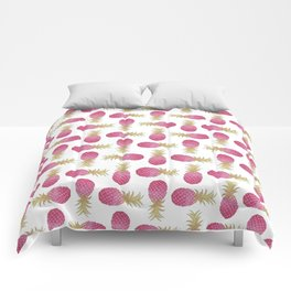 Ombre Pink Illustrated Pineapple Comforters