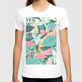 Flamingo Tropical, Colorful Modern Bohemian Eclectic Jungle Graphic Design, Blush Forest Gold Floral T-shirt